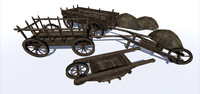 medieval barrows wagons 3d fbx