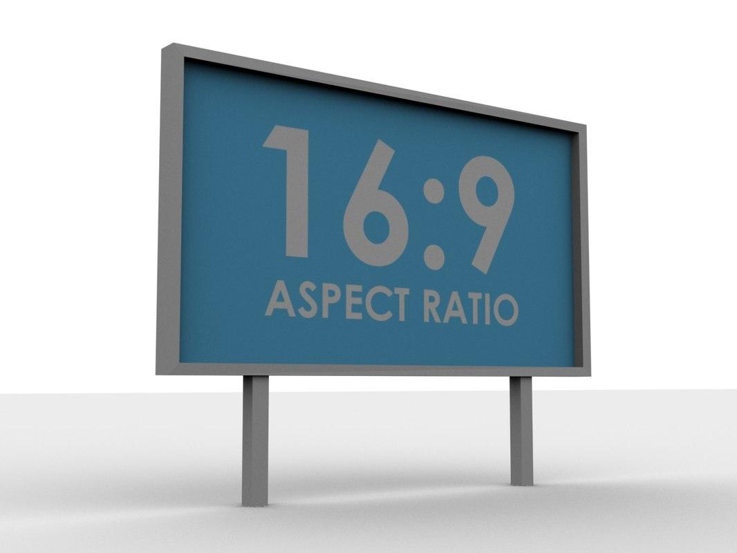 free simple billboard 16:9 3d model
