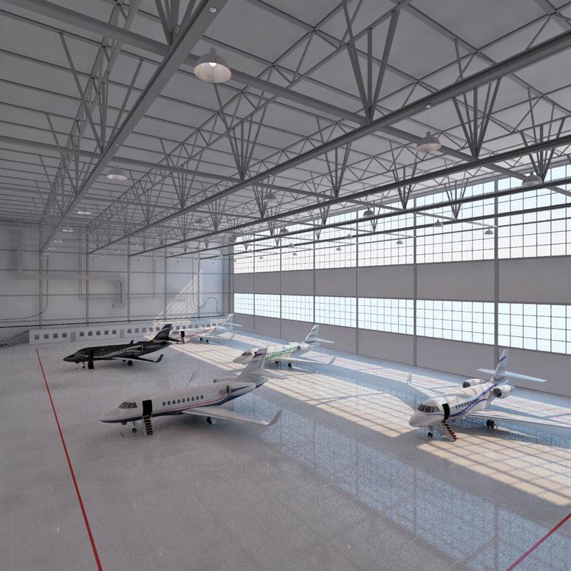 3d model aircrafts hangar
