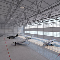 Aircraft hangar with aircrafts.