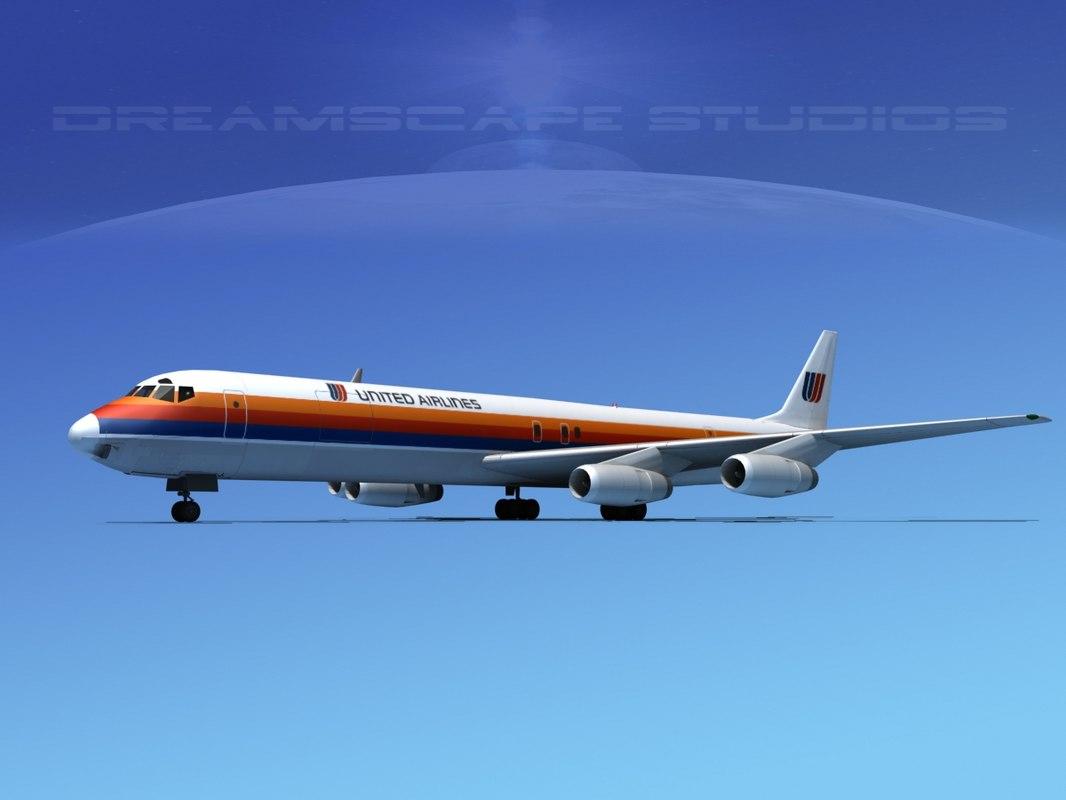 douglas dc-8 airlines 3d model