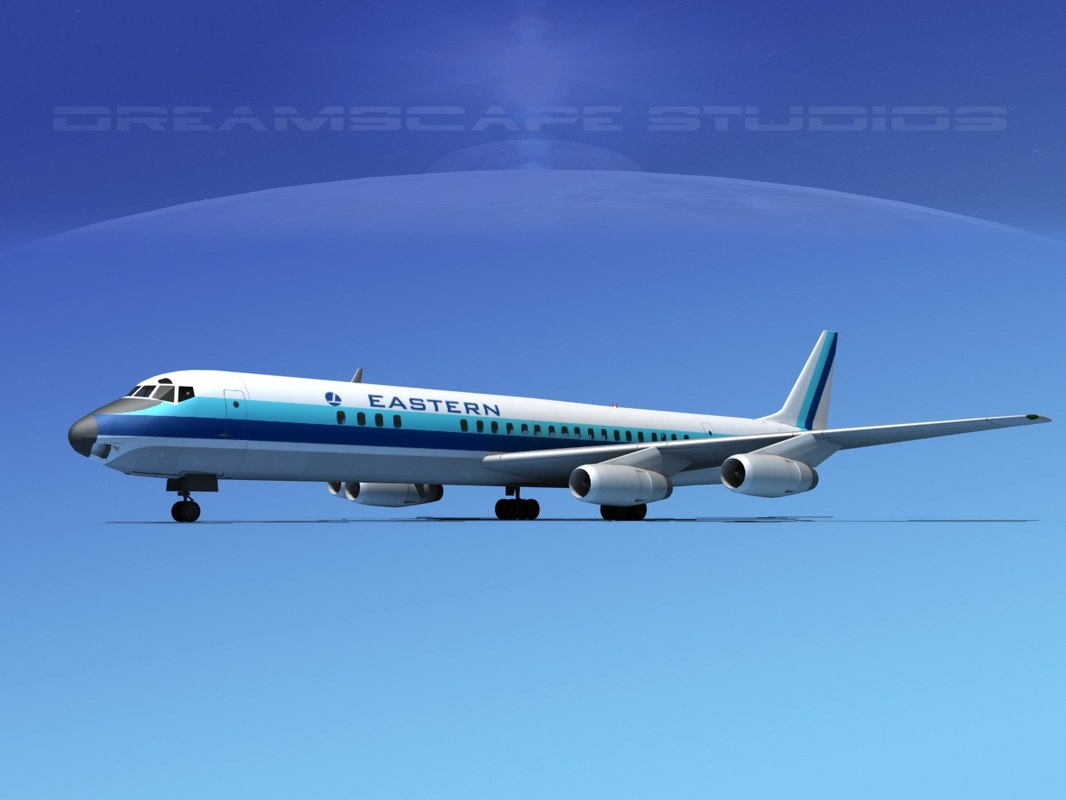 douglas dc-8 airliners 3d model
