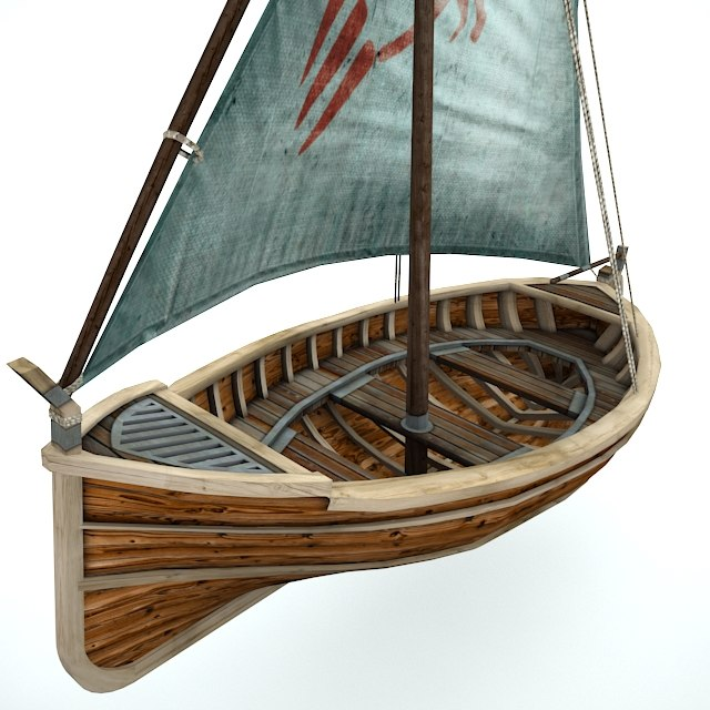 3d model fishing sailboat boat sail
