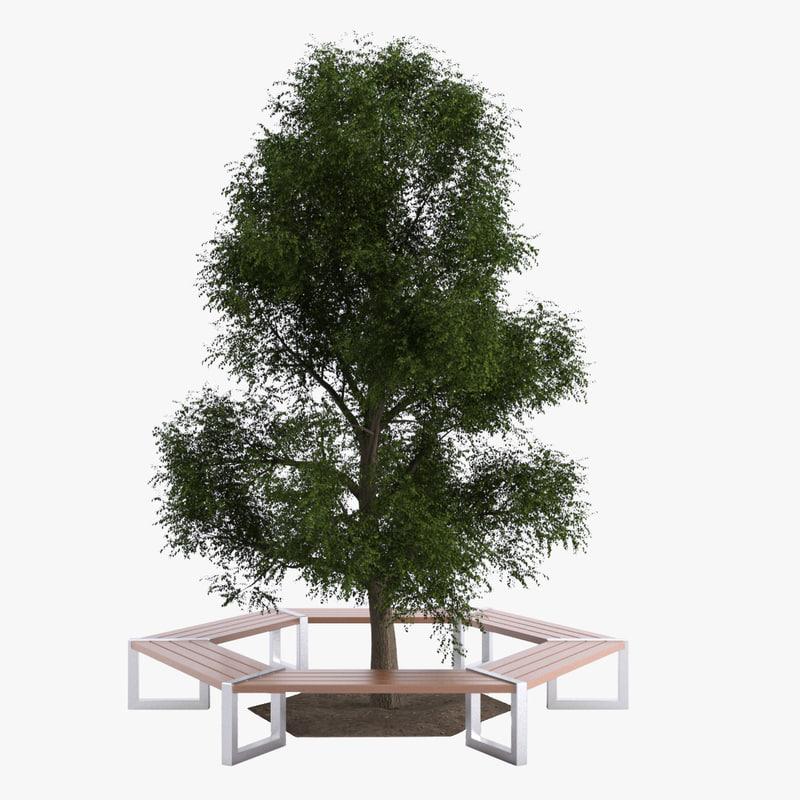 3d hexagonal tree bench model