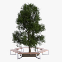 3d hexagonal tree bench model