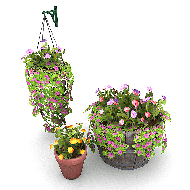 plants potted 3d max