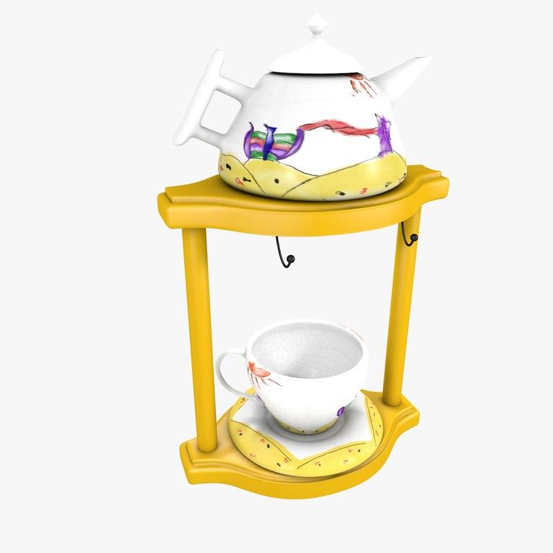 tea cup kettle 3d model