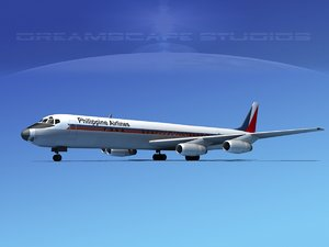 3d douglas dc-8 airliners