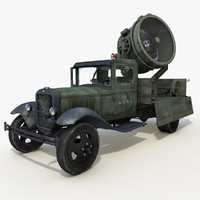 gaz-aa searchlight military vehicle 3d model