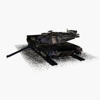 3d 3ds burned m1 abrams tank
