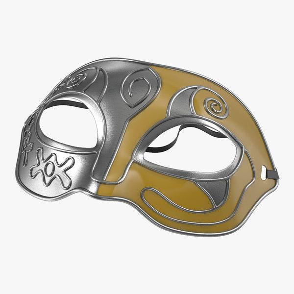 masquerade mask yellow 3d model