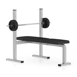 black flat weight bench 3d model