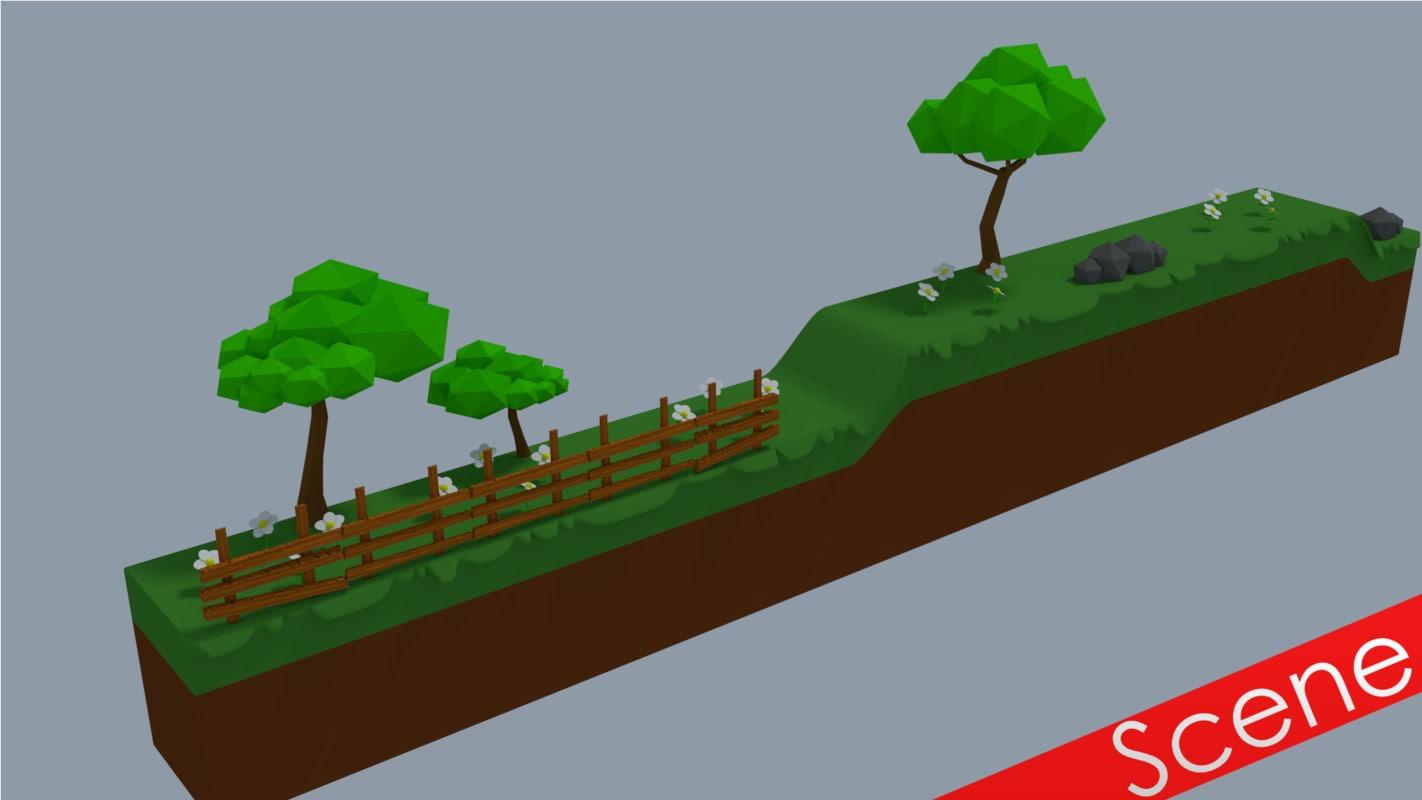 3ds cartoon 2d landscape