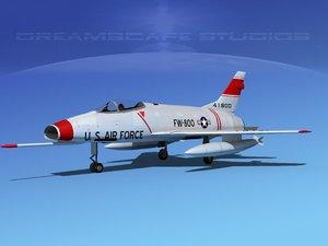 3d model of super sabre north american