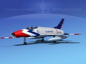 3d model super sabre north american
