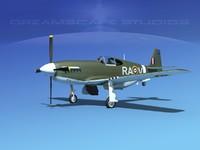 3d model p-51 mustang x
