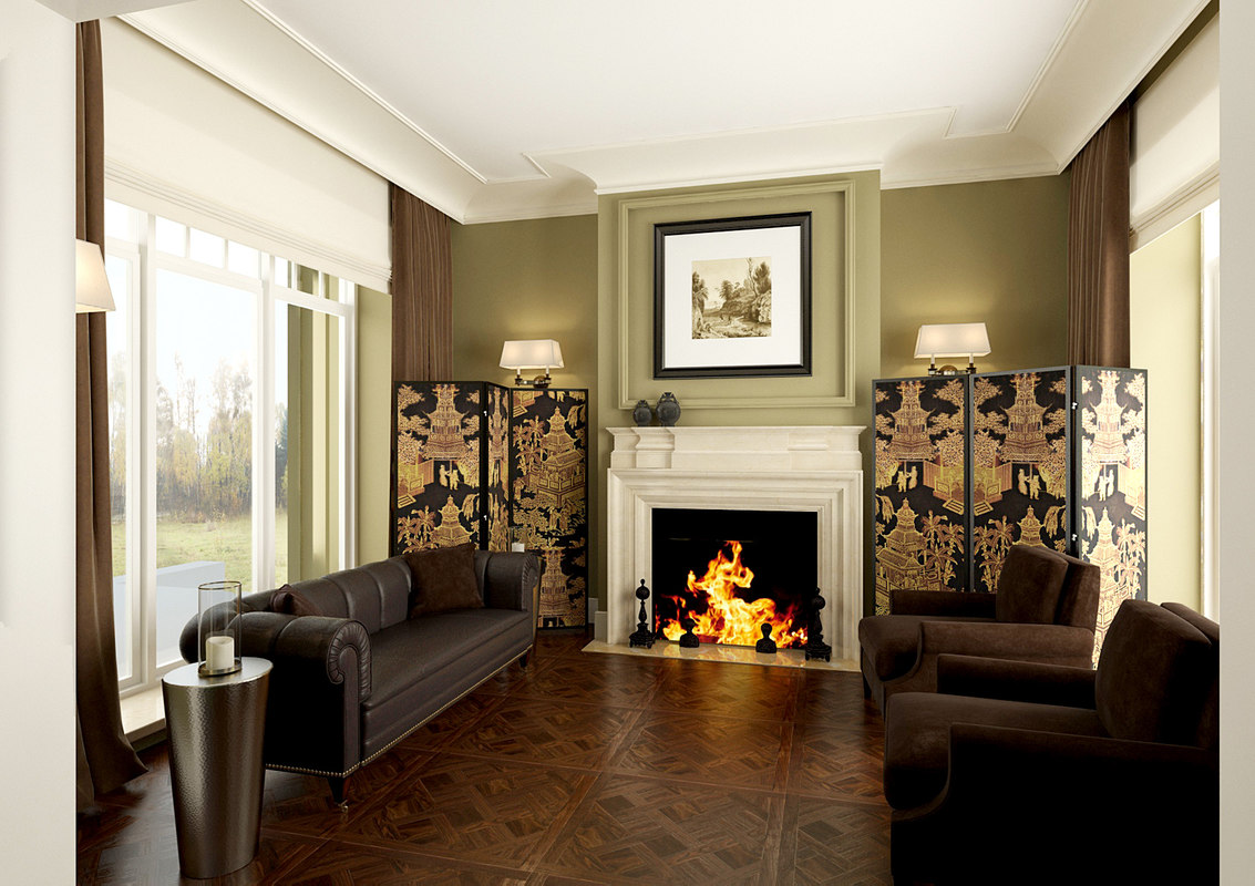 fireplace room 3d max