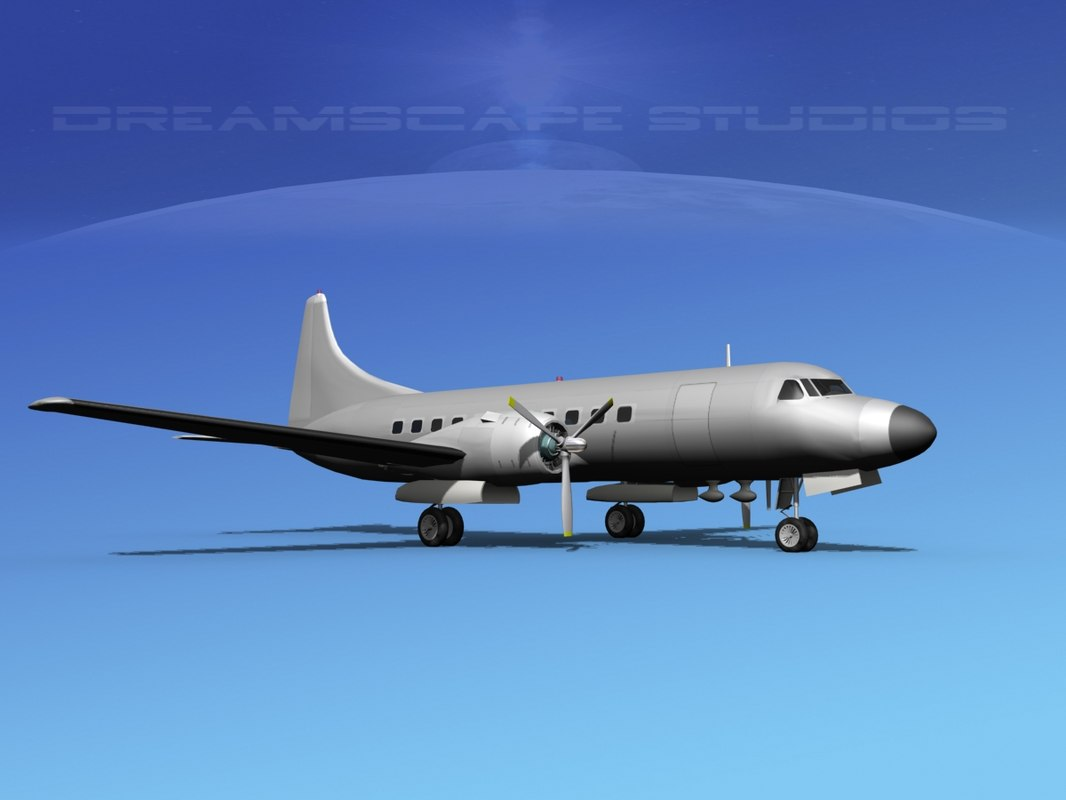 propellers convair c-131 military transport 3d model