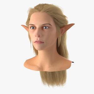 3d model of female elf head hair