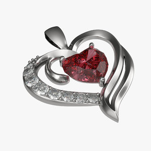 3d ruby heart necklace modeled model