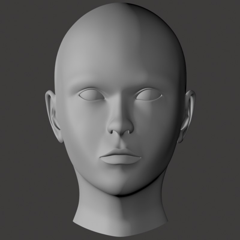 free young female head 3d model