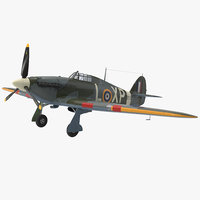 hawker hurricane wwii fighter 3d max
