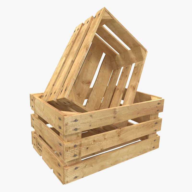 3d model wooden fruit crate
