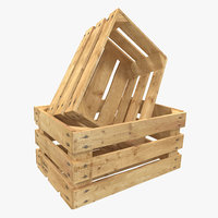 3d model wooden fruit crate