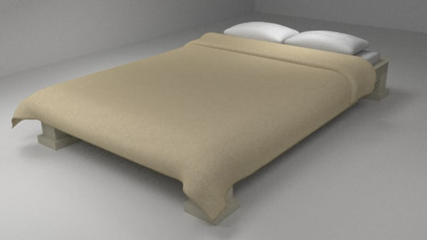 3d bed sheet pillows model