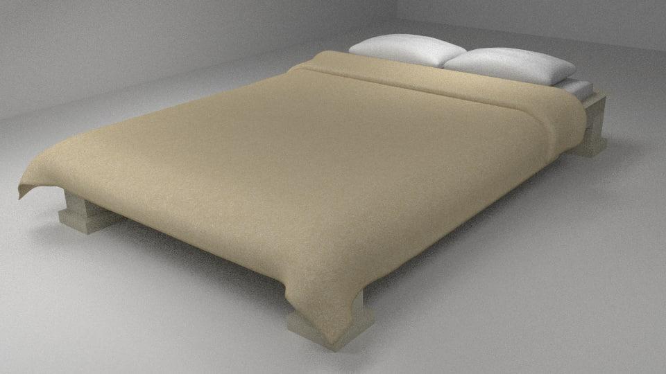 3d bed sheet pillows model