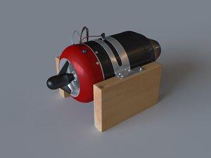 3d mini jet turbine engine model