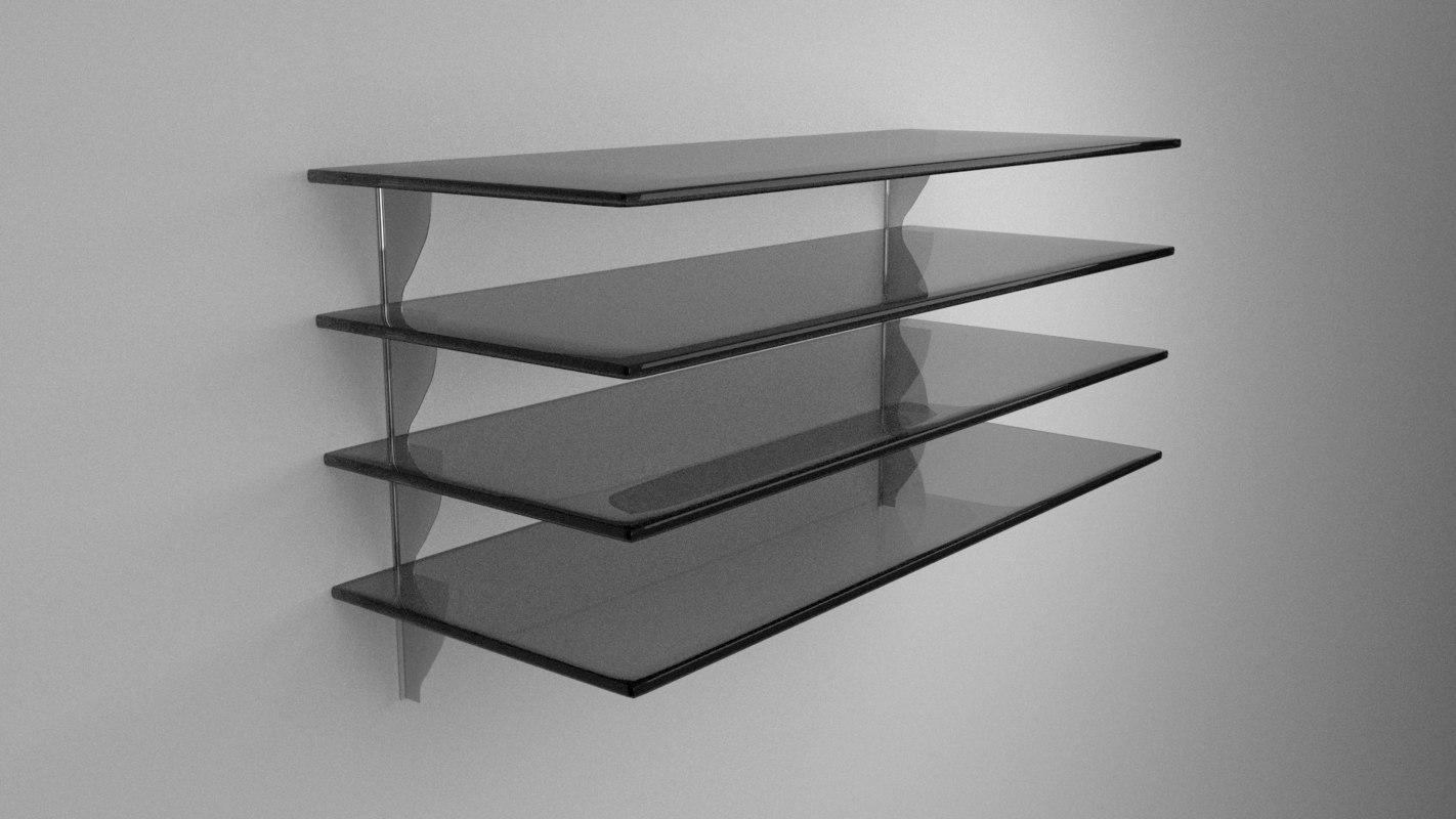 glass shelves 3d obj