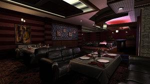 3d lounge scene model