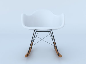 3d charles eames plastic rocking chair model