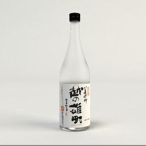 japanese sake bottle 3d model