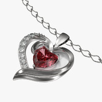 Ruby Heart Necklace and Chain 3D Model