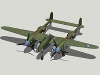 3d model p-38f lightning