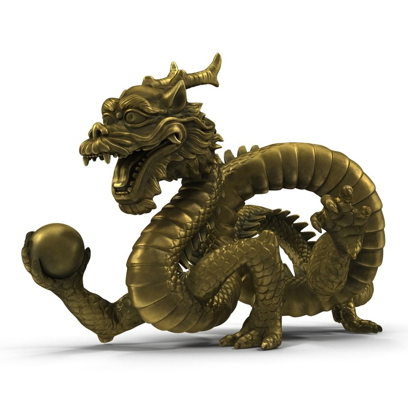chinese dragon statue 3d c4d