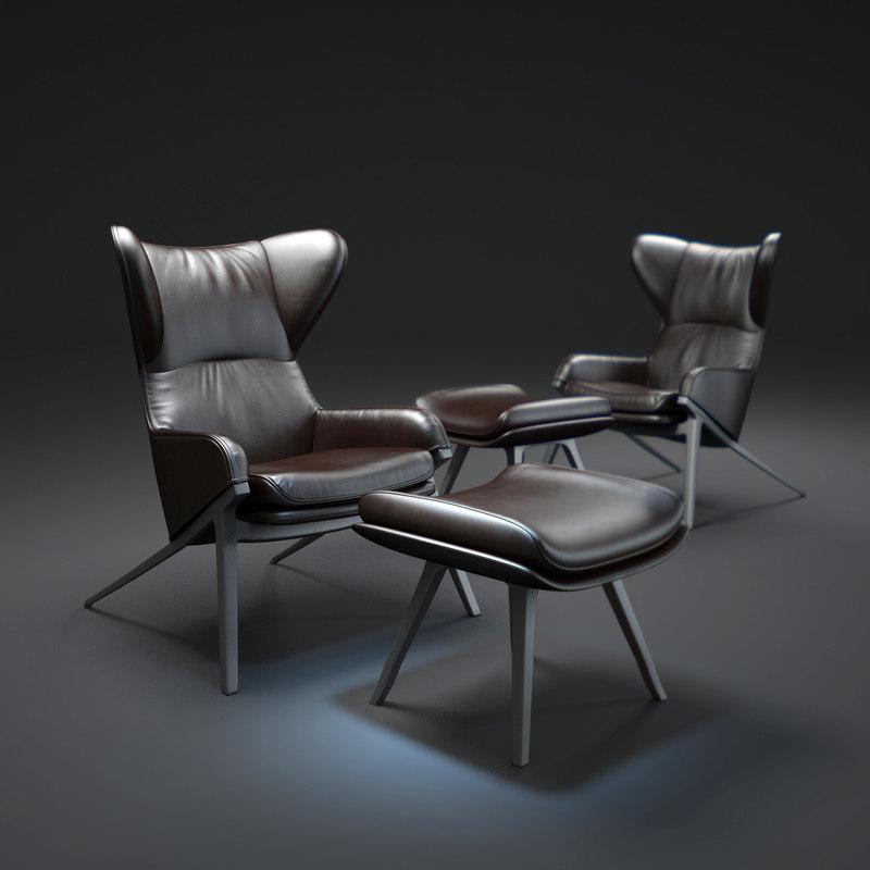 3d p22-leather-armchair