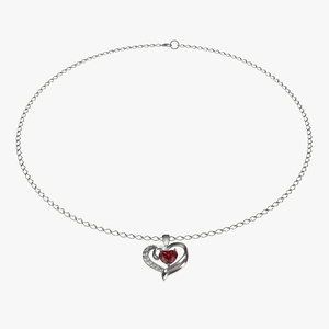 ruby heart necklace chain 3d model