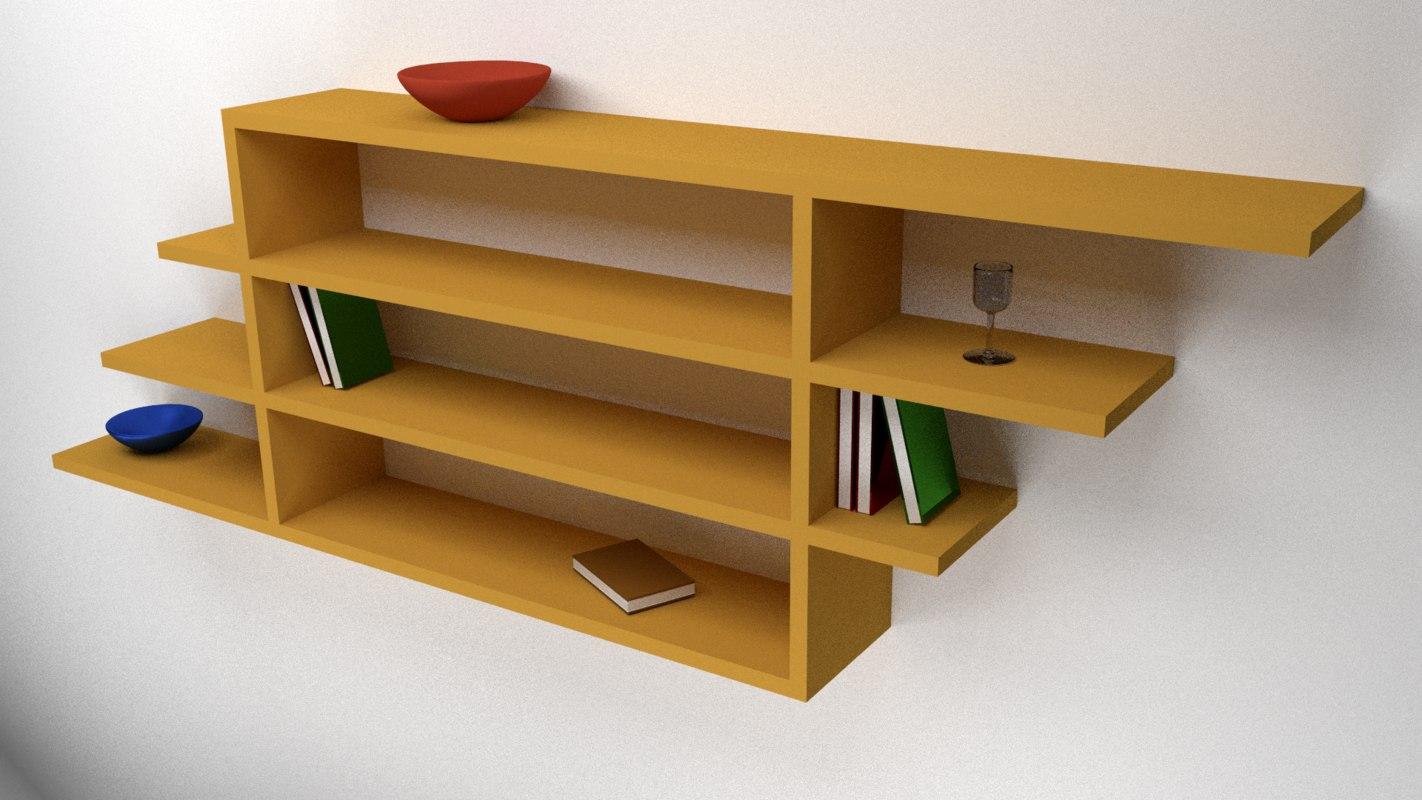 3d wooden shelves