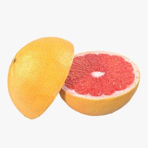 3d grapefruit cross section modeled