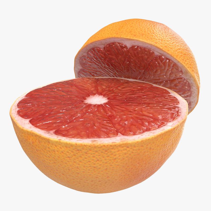 3d model grapefruit cross section 3
