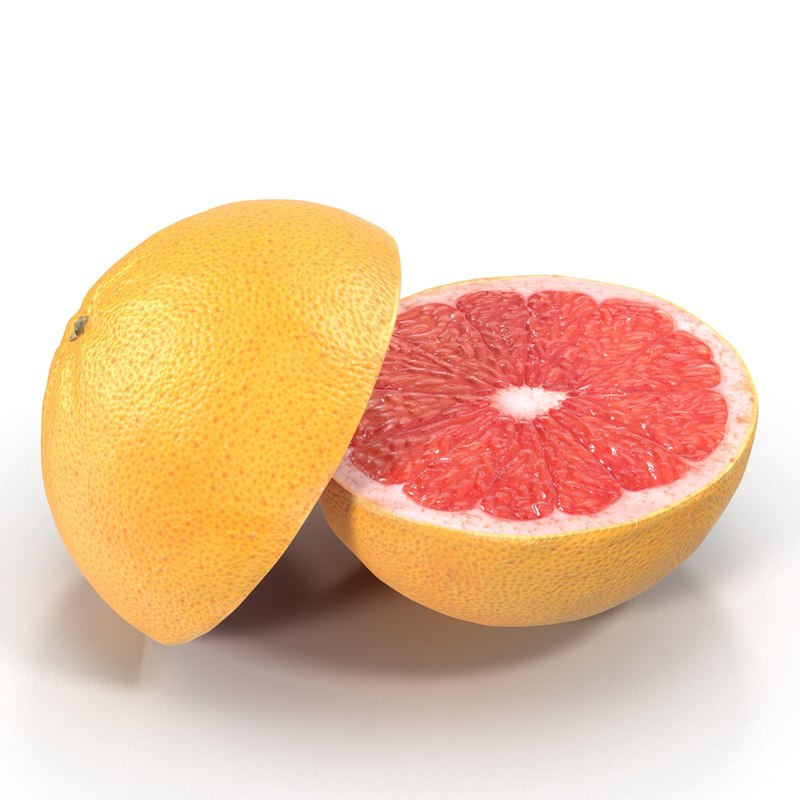 3d grapefruit cross section modeled