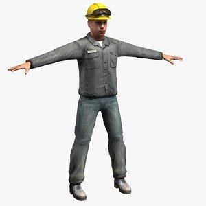 3d model workman figure