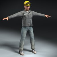 construction worker 3d 3ds