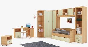 kids interior room 3d model