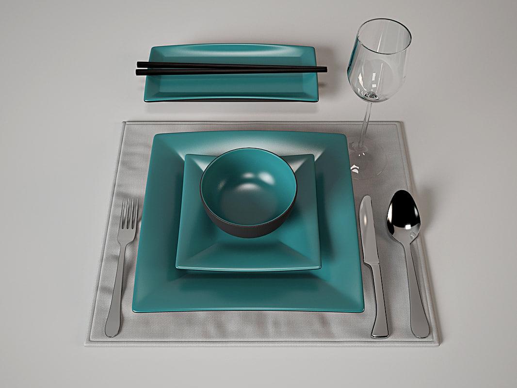 3d tableware set japan style model