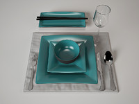 3d tableware set japan style model
