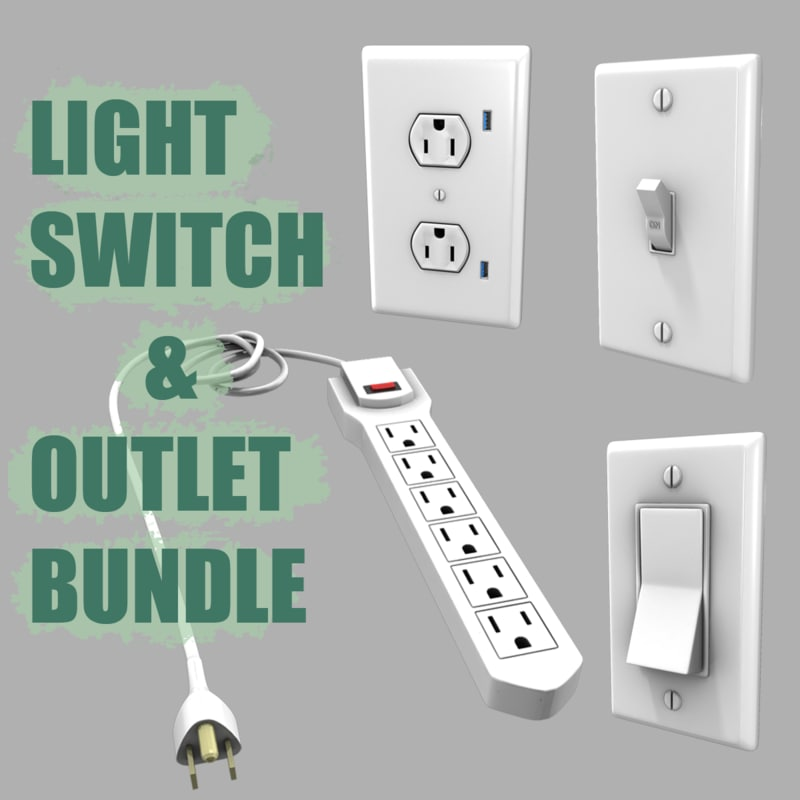 light switches electrical outlets 3d fbx